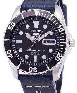 セイコー 5 スポーツ SNZF17K1 LS15 自動ダークブルーのレザー ストラップ メンズ腕時計