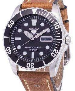 セイコー 5 スポーツ SNZF17K1 LS17 自動茶色の革ストラップ メンズ腕時計