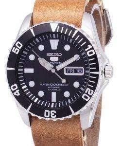 セイコー 5 スポーツ SNZF17K1 LS18 自動茶色の革ストラップ メンズ腕時計