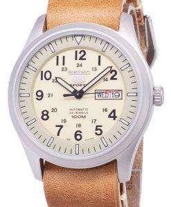 セイコー 5 スポーツ SNZG07K1 LS18 自動茶色の革ストラップ メンズ腕時計