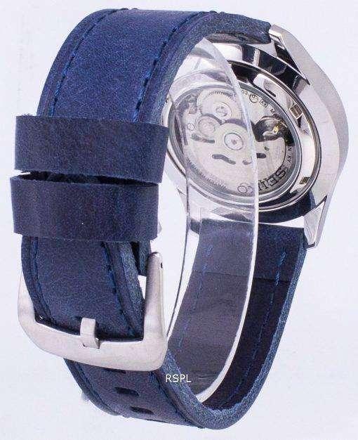 ダークブルーのレザー ストラップ メンズ腕時計セイコー 5 スポーツ SNZG09J1 LS13 日本