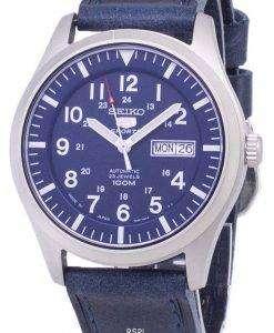 ダークブルーのレザー ストラップ メンズ腕時計セイコー 5 スポーツ SNZG11J1 LS13 日本