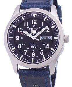 ダークブルーのレザー ストラップ メンズ腕時計セイコー 5 スポーツ SNZG15J1 LS13 日本