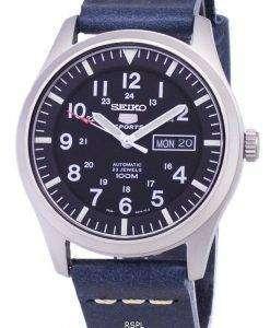 セイコー 5 スポーツ SNZG15K1 LS15 自動ダークブルーのレザー ストラップ メンズ腕時計