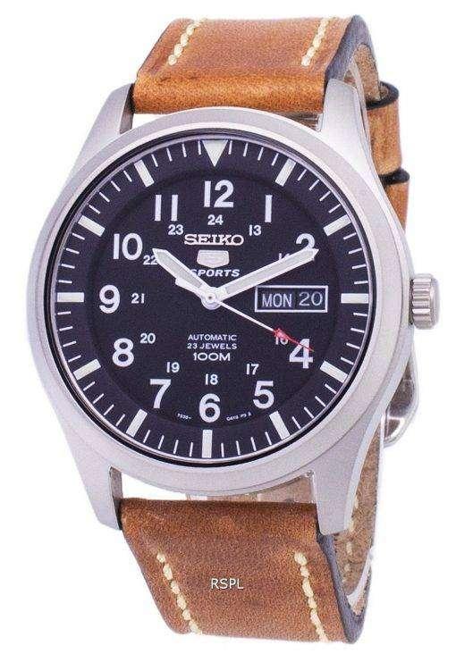 セイコー 5 スポーツ SNZG15K1 LS17 自動茶色の革ストラップ メンズ腕時計
