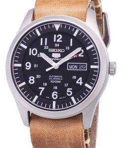 セイコー 5 スポーツ SNZG15K1 LS18 自動茶色の革ストラップ メンズ腕時計