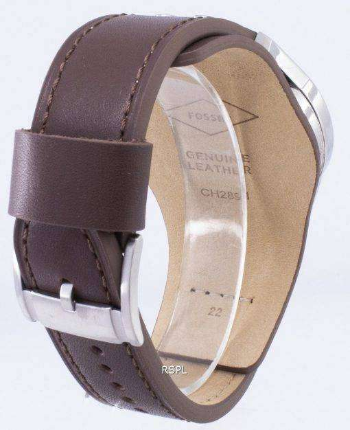 化石コーチマン クロノグラフ ブラック ダイアル ブラウン レザー CH2891 メンズ腕時計