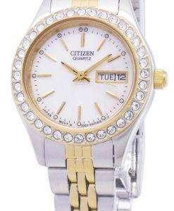 市民石英 EQ0534-50 D ダイヤモンド アクセント アナログ レディース腕時計