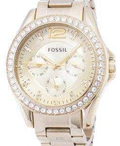 化石ライリー多機能ゴールド トーン クリスタル ダイヤル ES3203 レディース腕時計