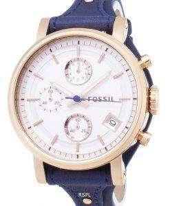 化石元ボーイ フレンド クォーツ クロノグラフ ブルー革ストラップ ES3838 レディース腕時計