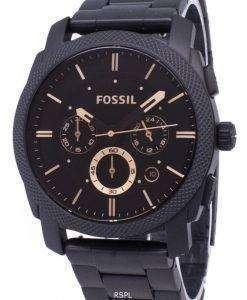 化石マシン中型クロノグラフ ブラック IP ステンレス鋼 FS4682 メンズ腕時計