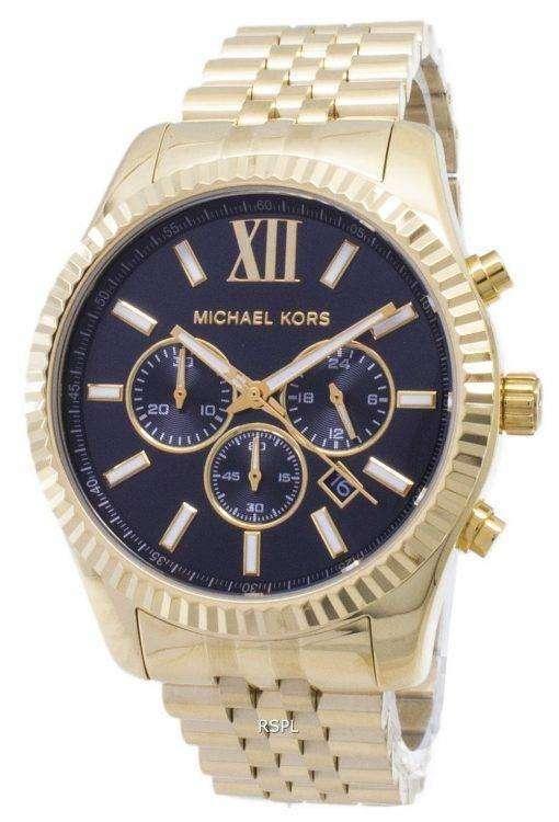 Michael Kors レキシントン クロノグラフ ブラック ダイヤル ゴールド トーン MK8286 メンズ腕時計