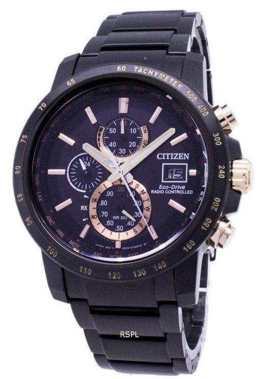 AT8127 85 f 市民エコ ・ ドライブ クロノグラフ電波 200 M メンズ腕時計