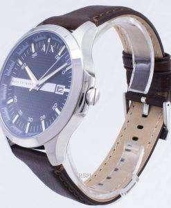 アルマーニエクス チェンジ石英ネイビー ダイヤル ブラウンレザース トラップ AX2133 メンズ腕時計