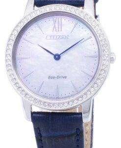 市民エコ ・ ドライブ EX1480-15 D ダイヤモンド アクセント アナログ レディース腕時計