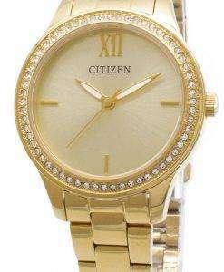 市民石英 EL3082-55 P アナログ ダイヤモンド アクセント レディース腕時計