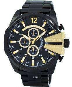 ディーゼル メガ チーフ クォーツ、クロノグラフ ブラック ダイアル IP ブラック DZ4338 メンズ腕時計