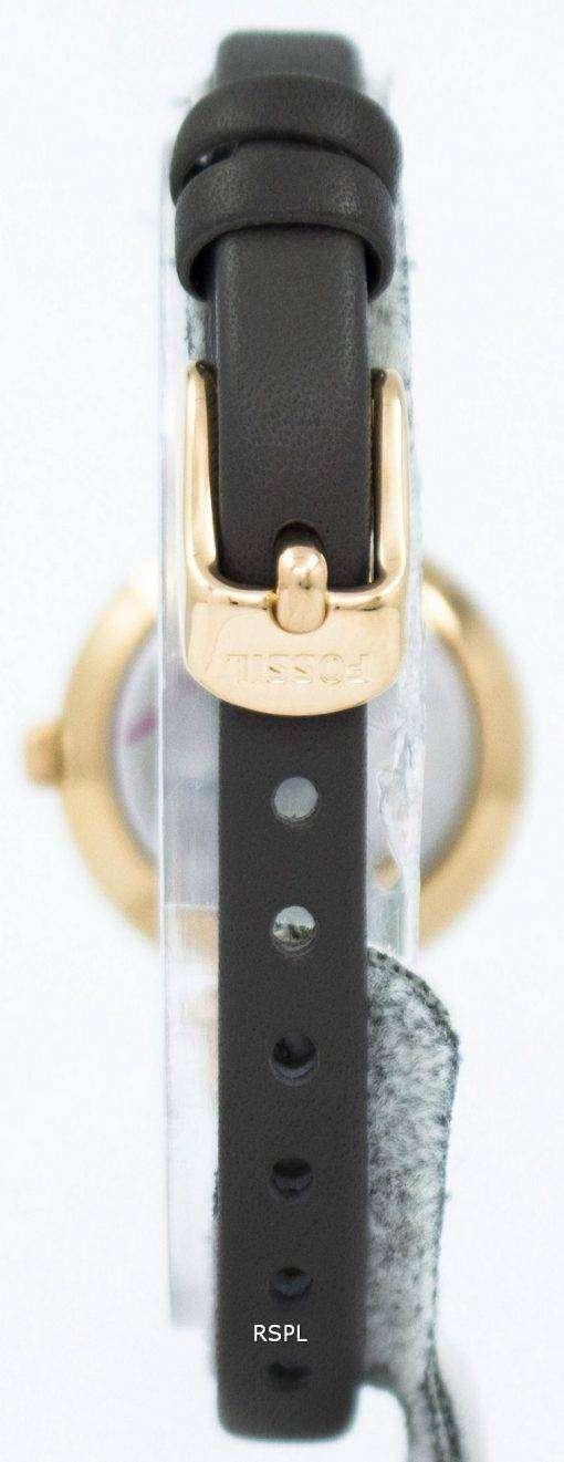 化石ジョージア ローズ ダイヤル グレー革 ES3862 レディース腕時計