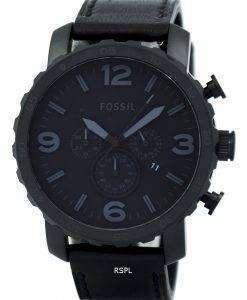 化石ネイト クロノグラフ ブラック イオン メッキ レザー JR1354 メンズ腕時計