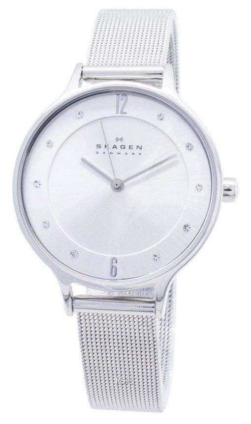 スカーゲン アニタ シルバー ダイヤル スワロフ スキー クリスタル メッシュ ブレスレット SKW2149 レディース腕時計