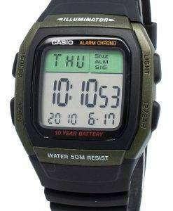 カシオユースW-96H-3AV W96H-3AVデュアルタイムクロノ10年バッテリーメンズ腕時計