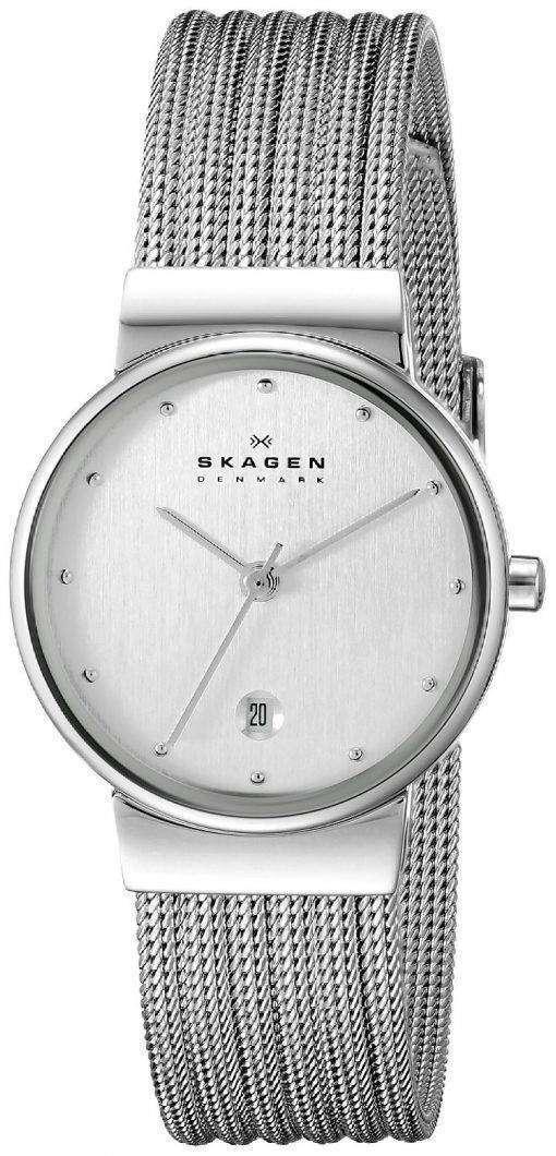 スカーゲン シルバー トーン メッシュ ブレスレット 355SSS1 レディース腕時計