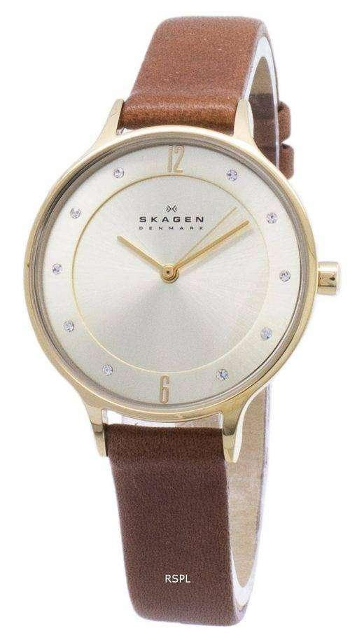 スカーゲン アニタ ゴールド ダイアル ブラウン レザー結晶 SKW2147 レディース腕時計