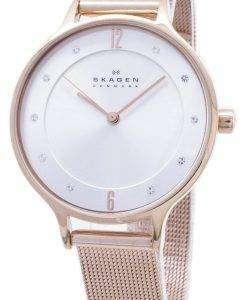 スカーゲン アニタ シルバー ダイヤル クリスタル ローズ ゴールド トーン メッシュ ブレスレット SKW2151 レディース腕時計