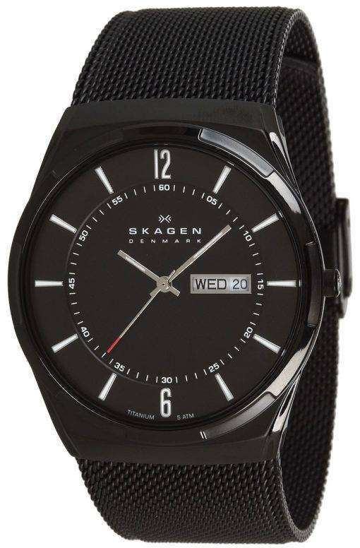 メッシュ バンド SKW6006 メンズ腕時計スカーゲン Melbye ブラック チタニウム ケース
