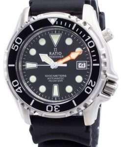 比率無料ダイバーヘリウムセーフ1000 Mステンレス鋼自動1066KE20-33VA-BLKメンズ腕時計