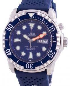 比率無料ダイバーヘリウムセーフ1000 Mサファイア自動1068HA90-34VA-BLUメンズ腕時計