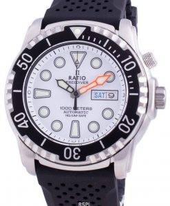 レシオフリーダイバーヘリウムセーフ1000 Mサファイア自動1068HA90-34VA-WHTメンズ腕時計