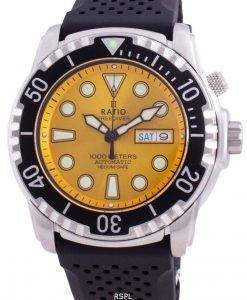 比率無料ダイバーヘリウムセーフ1000 Mサファイア自動1068HA90-34VA-YLWメンズ腕時計