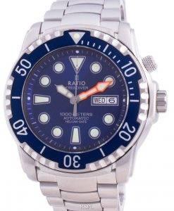 比率無料ダイバーヘリウムセーフ1000 Mサファイア自動1068HA96-34VA-BLUメンズ腕時計