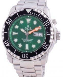 レシオフリーダイバーヘリウムセーフ1000 Mサファイア自動1068HA96-34VA-GRNメンズ腕時計