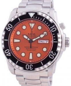 レシオフリーダイバーヘリウムセーフ1000 Mサファイア自動1068HA96-34VA-ORGメンズ腕時計