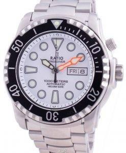 レシオフリーダイバーヘリウムセーフ1000 Mサファイア自動1068HA96-34VA-WHTメンズ腕時計