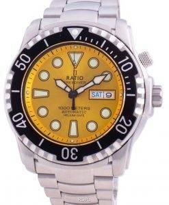 比率無料ダイバーヘリウムセーフ1000 Mサファイア自動1068HA96-34VA-YLWメンズ腕時計