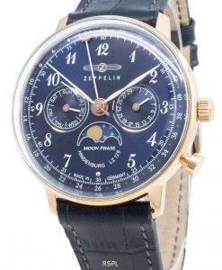 ツェッペリンヒンデンブルクLZ129 7039-3 70393ムーンフェイズクォーツメンズ腕時計