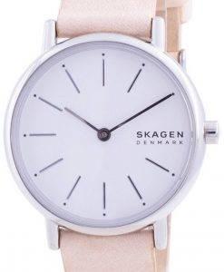 Skagen Signatur White Dial Pink Leather Strap Quartz SKW2839 Womens Watch