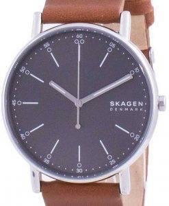 SkagenSignaturグレーダイヤルレザーストラップクォーツSKW6578メンズウォッチ