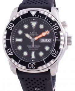比率無料ダイバーヘリウムセーフ1000 Mサファイア自動1068HA90-34VA-BLKメンズ腕時計