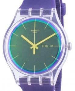 Swatch Polapurple 퍼플 다이얼 실리콘 스트랩 쿼츠 SUOK712 남성용 시계