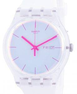 Swatch Polawhite 화이트 다이얼 실리콘 스트랩 쿼츠 SUOK713 남성용 시계